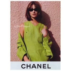 ✨Authentic Vintage CHANEL CC Logo Linen Dress